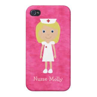 Rosa personalizado enfermera rubia linda del dibuj iPhone 4 cárcasa