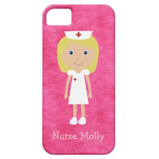 Rosa personalizado enfermera rubia linda del iPhone 5 Case-Mate protectores