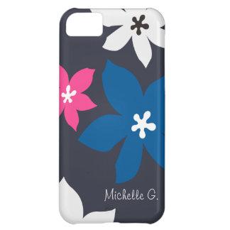 Rosa personalizado estampado de flores moderno gra funda para iPhone 5C