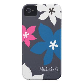 Rosa personalizado estampado de flores moderno iPhone 4 Case-Mate cárcasas