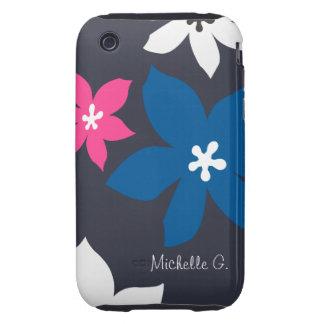 Rosa personalizado estampado de flores moderno tough iPhone 3 carcasas