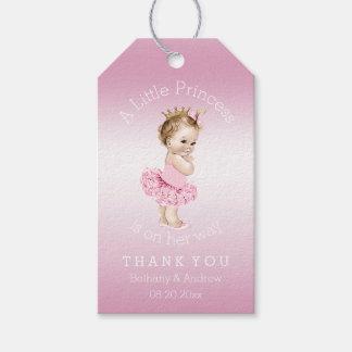 Rosa personalizado fiesta de bienvenida al bebé de etiquetas para regalos