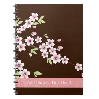 Rosa personalizado/flor del Dogwood de Brown Libretas Espirales