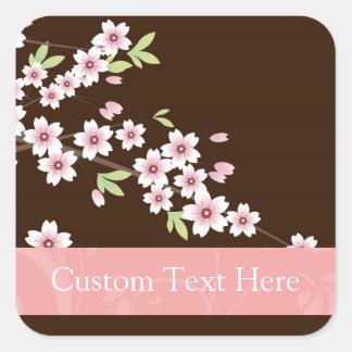 Rosa personalizado flor del Dogwood de Brown Calcomania Cuadradas Personalizada