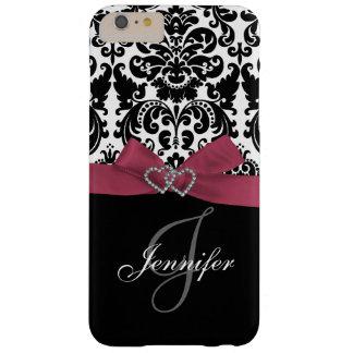 Rosa personalizado, modelo adornado negro del funda de iPhone 6 plus barely there