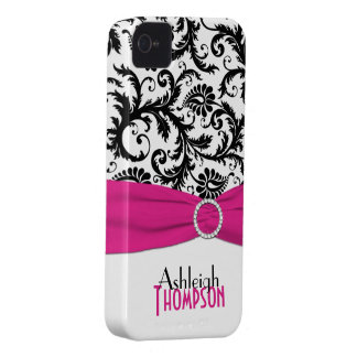 Rosa personalizado, negro, damasco floral blanco Case-Mate iPhone 4 coberturas