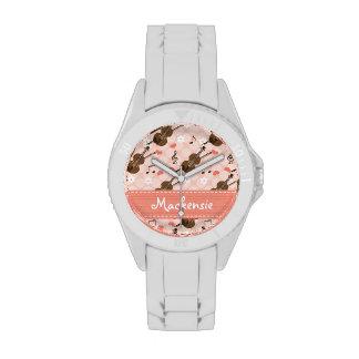 Rosa personalizado y violín de Brown Relojes De Mano