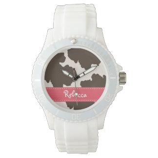 Rosa personalizado y zurriago de Brown Reloj De Mano
