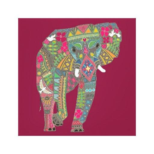 rosa pintado del elefante impresión de lienzo