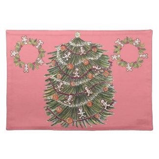 Rosa Placemat del árbol de navidad del algodón Mantel