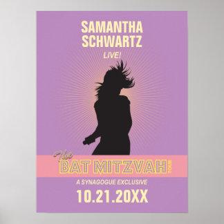 Rosa Poster-Púrpura de Mitzvah del palo de la estr Póster