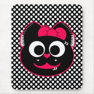 Rosa punky del gatito mouse pad