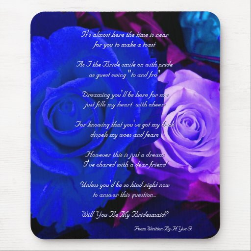 Rosa púrpura azul usted será mi dama de honor tapetes de raton
