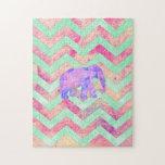 Rosa púrpura caprichoso Chevron de la verde menta  Puzzles Con Fotos