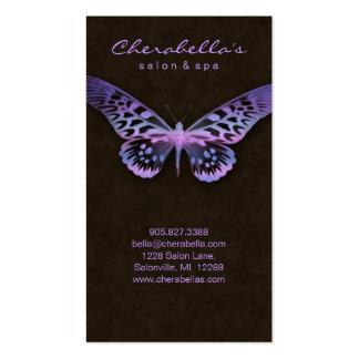 Rosa púrpura de la mariposa del balneario de la ta tarjetas personales