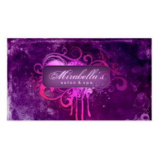 Rosa púrpura del balneario del salón de la flor de tarjetas de visita