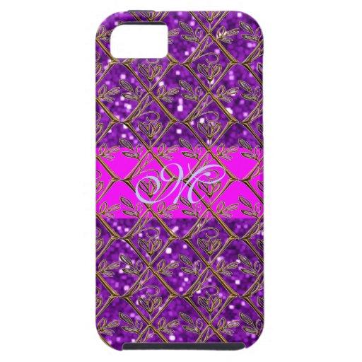 Rosa púrpura del brillo femenino lindo del modelo funda para iPhone SE/5/5s