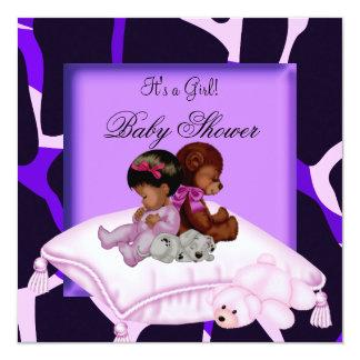 Rosa púrpura del chica afroamericano de la fiesta invitación 13,3 cm x 13,3cm