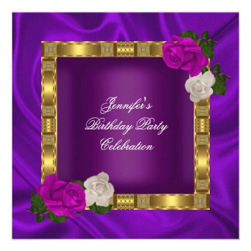 Rosa púrpura del ciruelo del oro de la fiesta de c anuncios personalizados