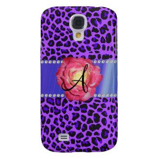 Rosa púrpura del leopardo del monograma subió
