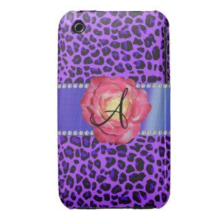 Rosa púrpura del leopardo del monograma subió Case-Mate iPhone 3 protectores