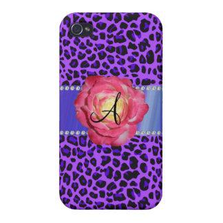 Rosa púrpura del leopardo del monograma subió iPhone 4 coberturas