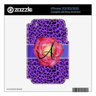 Rosa púrpura del leopardo del monograma subió iPhone 3G skin