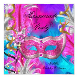 """Rosa púrpura del trullo del cumpleaños del fiesta invitación 5.25"""" x 5.25"""""""