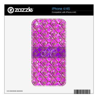 Rosa púrpura femenino floral del monograma del mod calcomanía para el iPhone 4