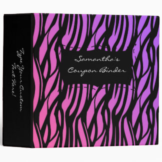 "Rosa/púrpura/negro personalizados de la cebra de carpeta 2"""