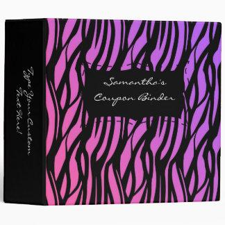 Rosa/púrpura/negro personalizados de la cebra de l