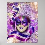 Rosa púrpura veneciano de la máscara de la póster