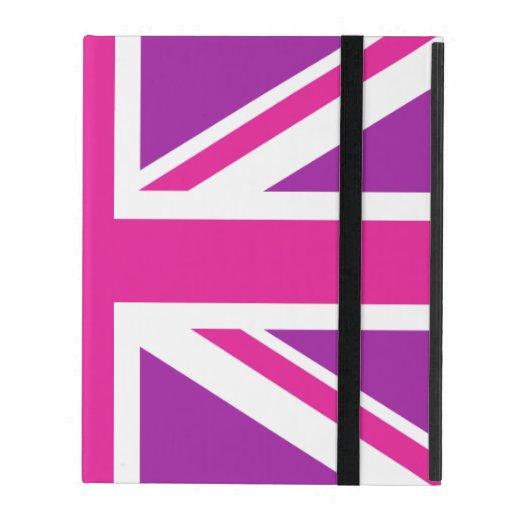 Rosa, púrpura y blanco de la bandera de Union Jack iPad Protector