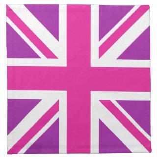 Rosa, púrpura y blanco de la bandera de Union Jack Servilletas De Papel