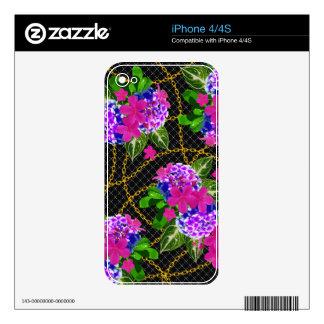 Rosa que pone en contraste e impresión floral y de iPhone 4S calcomanía