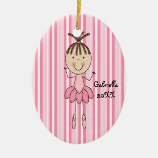 Rosa rayado en el ornamento rosado del navidad de  ornamentos de navidad