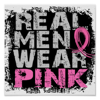 Rosa real del desgaste de hombres del cáncer de pe póster