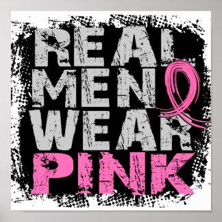 Rosa real del desgaste de hombres del cáncer de póster