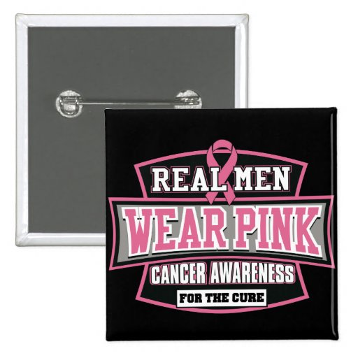 Rosa REAL del desgaste de hombres para el cáncer d Pins