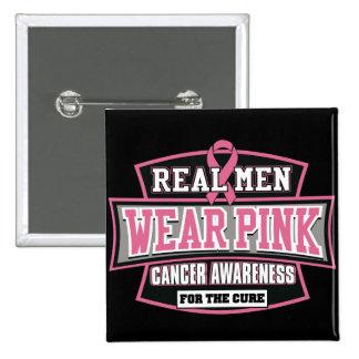 Rosa REAL del desgaste de hombres para el cáncer Pin Cuadrado