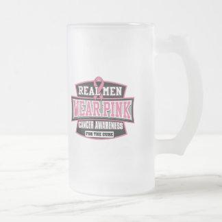 Rosa REAL del desgaste de hombres para el cáncer Taza De Cristal