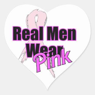 Rosa real del desgaste de hombres pegatina en forma de corazón