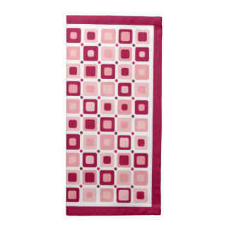 Rosa redondo de los cuadrados servilletas