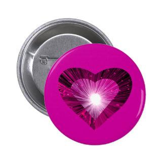 """Rosa redondo del corazón del botón rosado del """"cor pin redondo de 2 pulgadas"""