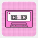 "Rosa retro 80"" s Mixtape Calcomanías Cuadradas Personalizadas"