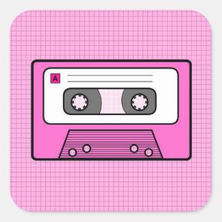 Rosa retro 80 s Mixtape Calcomanías Cuadradas Personalizadas