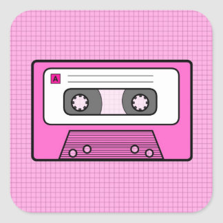 "Rosa retro 80"" s Mixtape Pegatina Cuadrada"