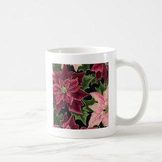 Rosa retro de Borgoña del Poinsettia 50s Taza