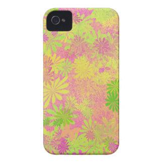 Rosa retro de la verde lima del diseño de las flor Case-Mate iPhone 4 protector