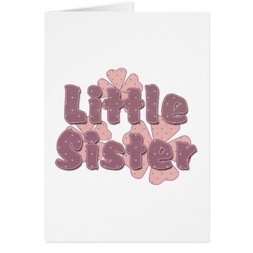 Rosa retro de las flores de la pequeña hermana tarjeta pequeña